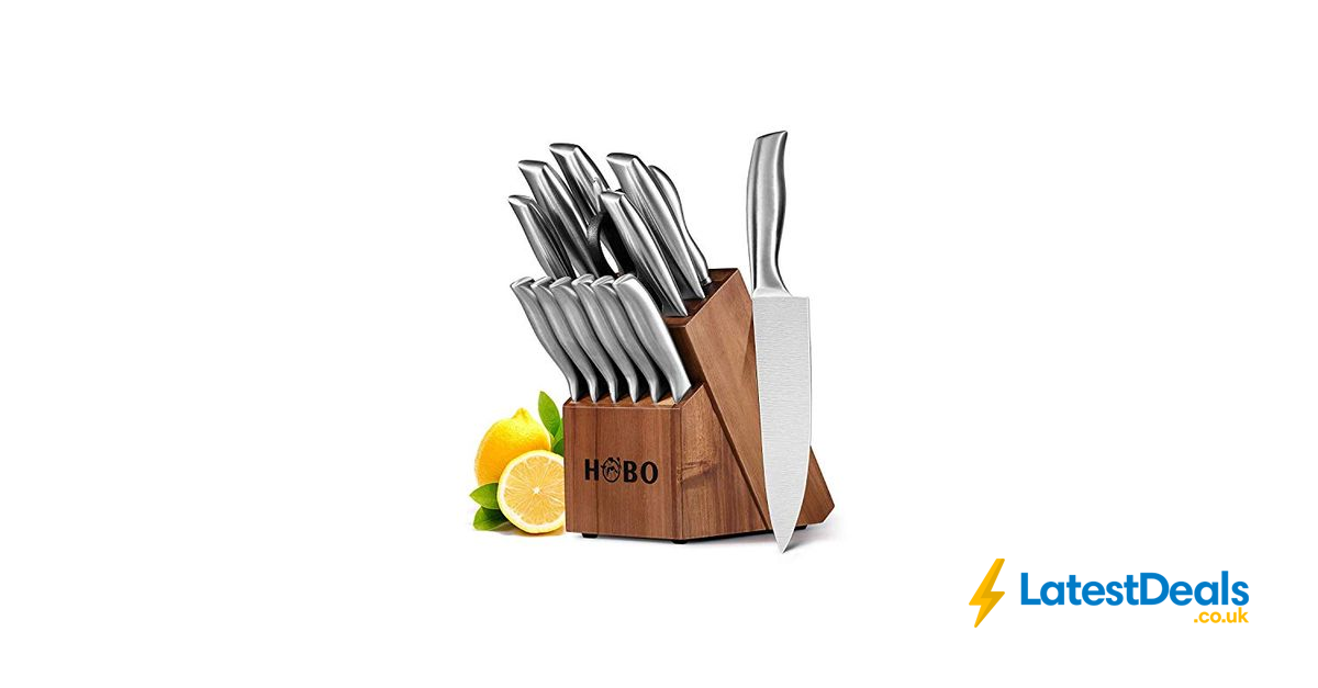 hobo 14-piece kitchen knife set with block wooden, self